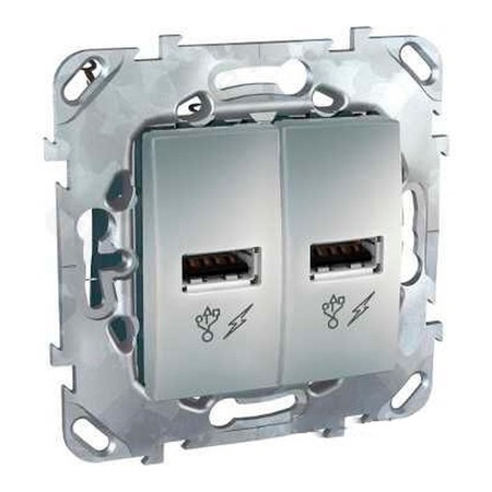Розетка 2xUSB Schneider Electric UNICA TOP, алюминий, MGU5.928.30ZD