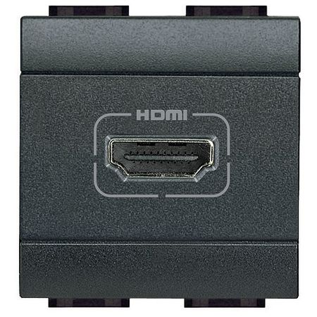 Розетка HDMI BTicino LIVING LIGHT, антрацит, L4284