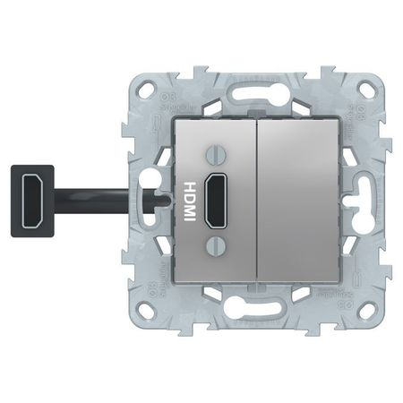 Розетка HDMI Schneider Electric UNICA NEW, алюминий, NU543030