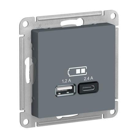 Розетка 2xUSB Schneider Electric ATLASDESIGN, грифель, ATN000739
